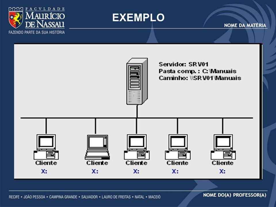 NOME DA MATÉRIA NOME DO(A) PROFESSOR(A) Vamos supor que os arquivos da pasta C:\Manuais, do servidor SRV01, devam estar disponíveis para acesso através da rede.