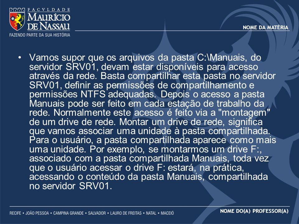NOME DA MATÉRIA NOME DO(A) PROFESSOR(A) INCONVENIENTES