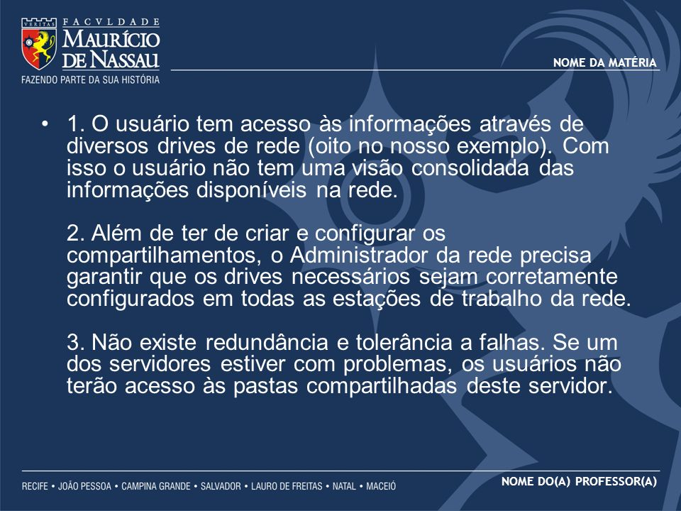 NOME DA MATÉRIA NOME DO(A) PROFESSOR(A) IMPLEMENTANDO DFS NO WINDOWS 2003 Clique em NEXT