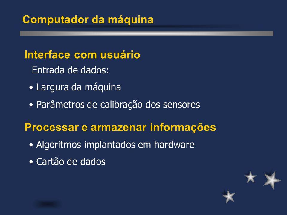 Interface com usuário Computador da máquina Processar e armazenar informações Entrada de dados: Largura da máquina Parâmetros de calibração dos sensor