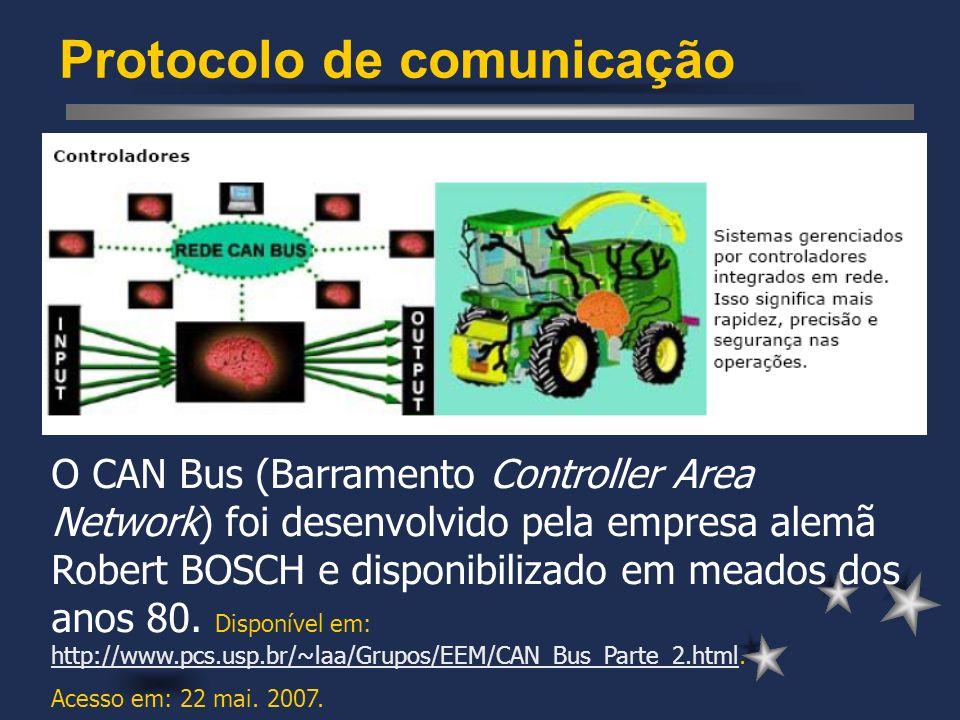 Protocolo de comunicação O CAN Bus (Barramento Controller Area Network) foi desenvolvido pela empresa alemã Robert BOSCH e disponibilizado em meados d