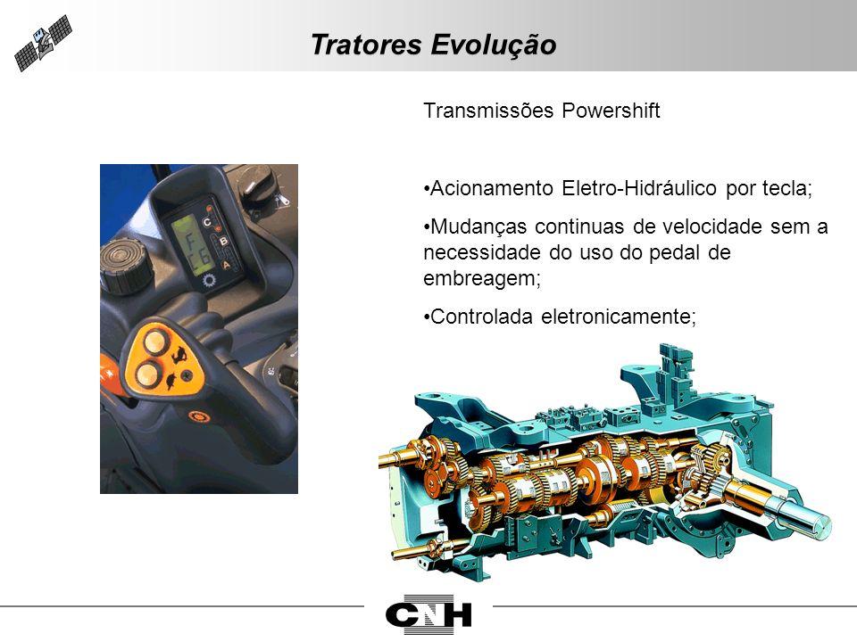 Transmissões Powershift Acionamento Eletro-Hidráulico por tecla; Mudanças continuas de velocidade sem a necessidade do uso do pedal de embreagem; Cont