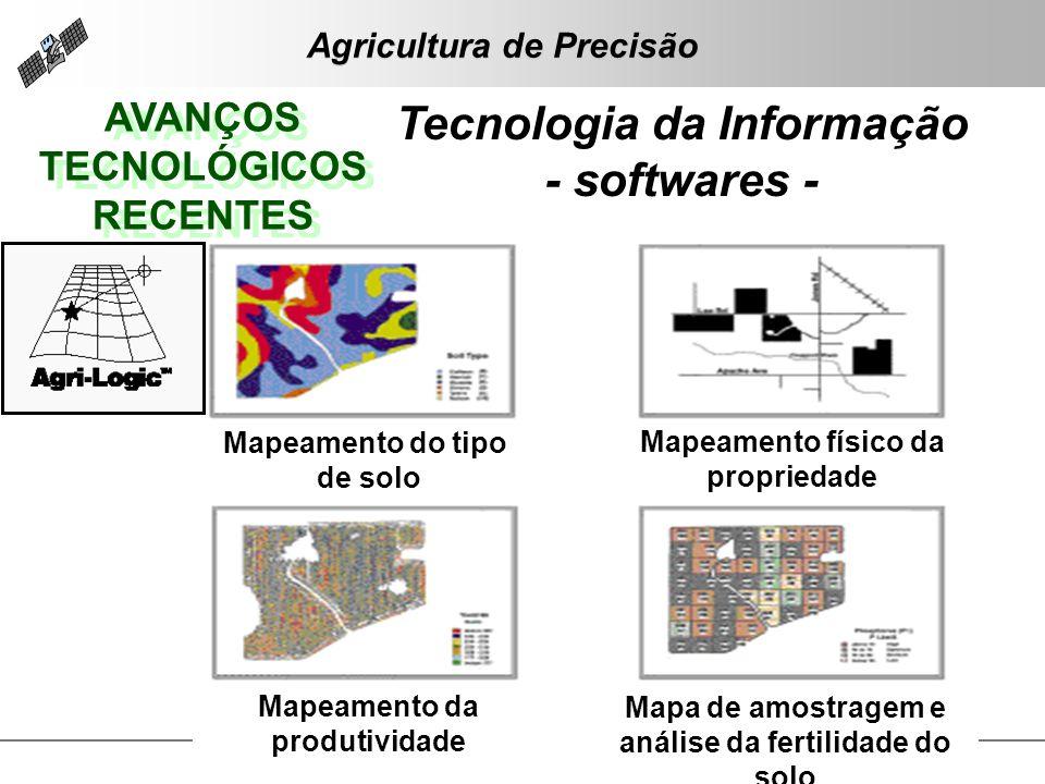 AVANÇOS TECNOLÓGICOS RECENTES AVANÇOS TECNOLÓGICOS RECENTES Tecnologia da Informação - softwares - Mapeamento do tipo de solo Mapeamento físico da pro