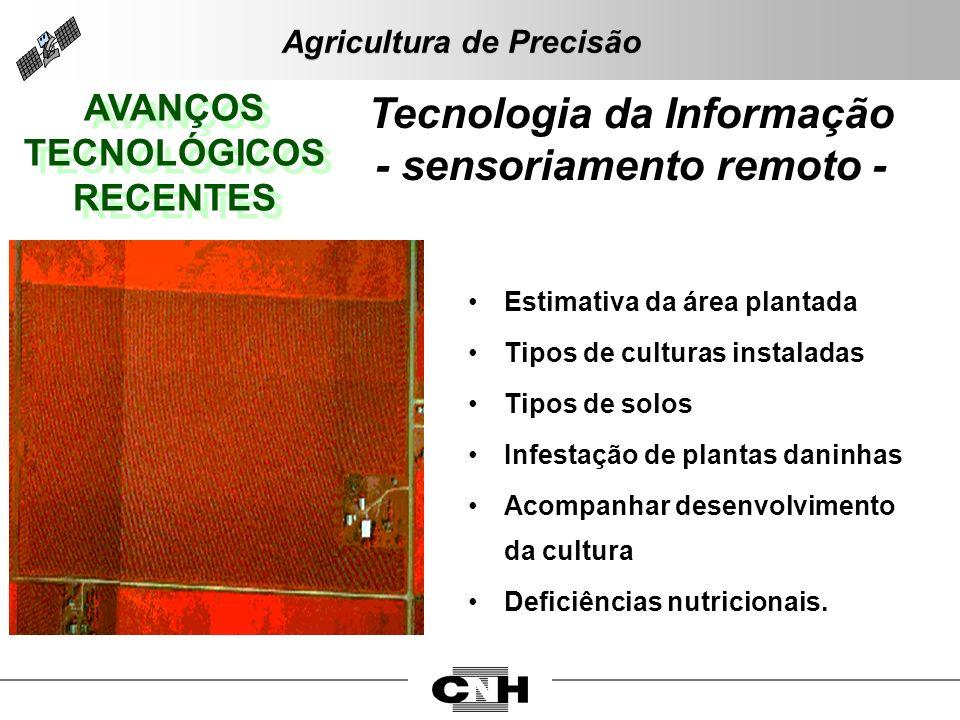 AVANÇOS TECNOLÓGICOS RECENTES AVANÇOS TECNOLÓGICOS RECENTES Tecnologia da Informação - sensoriamento remoto - Estimativa da área plantada Tipos de cul