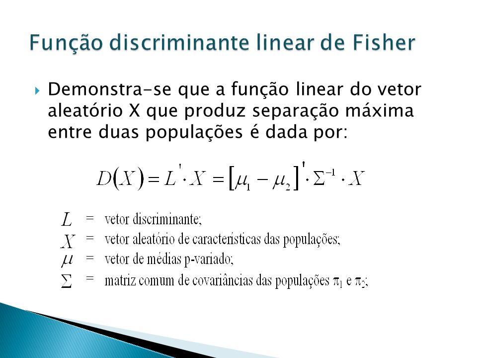 Demonstra-se que a função linear do vetor aleatório X que produz separação máxima entre duas populações é dada por: