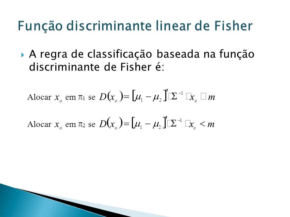 A regra de classificação baseada na função discriminante de Fisher é: Alocar o x em 1 se mxxD oo 1 21 ' Alocar o x em 2 se mxxD oo 1 21 '