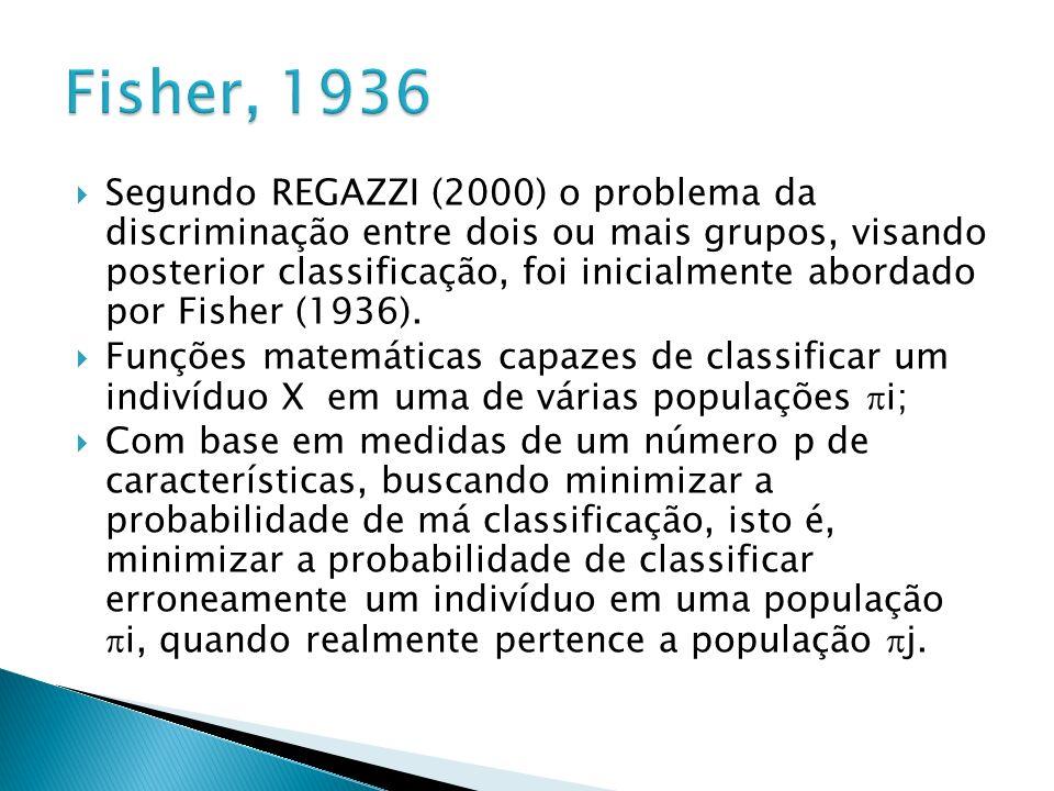 Segundo REGAZZI (2000) o problema da discriminação entre dois ou mais grupos, visando posterior classificação, foi inicialmente abordado por Fisher (1