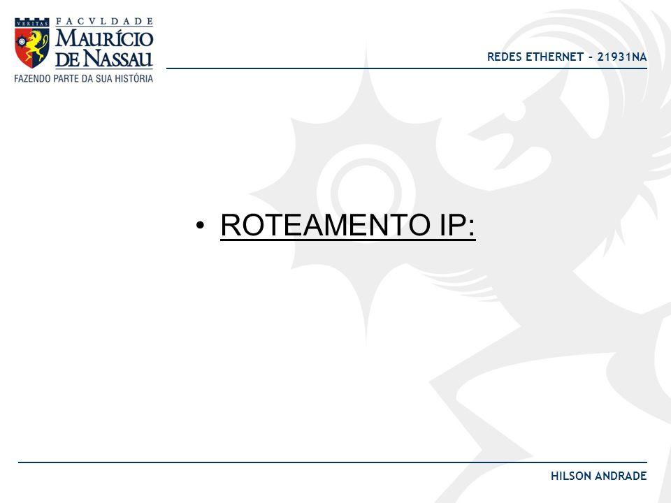 REDES ETHERNET – 21931NA HILSON ANDRADE Protocolos Vetor distância