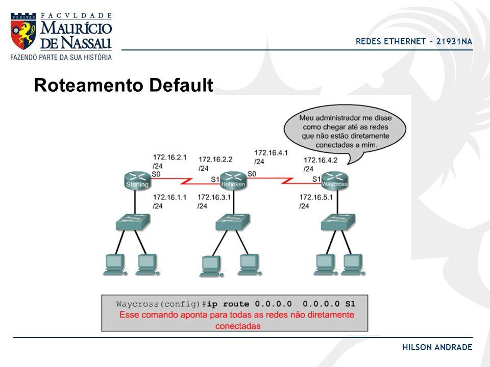 REDES ETHERNET – 21931NA HILSON ANDRADE Roteamento Estático (resumo): VANTAGENS: -Redução do overhead na CPU do router; -Economia de largura de banda; -Segurança e maior imunidade a falhas; DESVANTAGENS: -O administrador precisa possuir um profundo conhecimento da rede; -Dificulta a escalabilidade; -Difícil aplicação para redes que convergem com frequência.