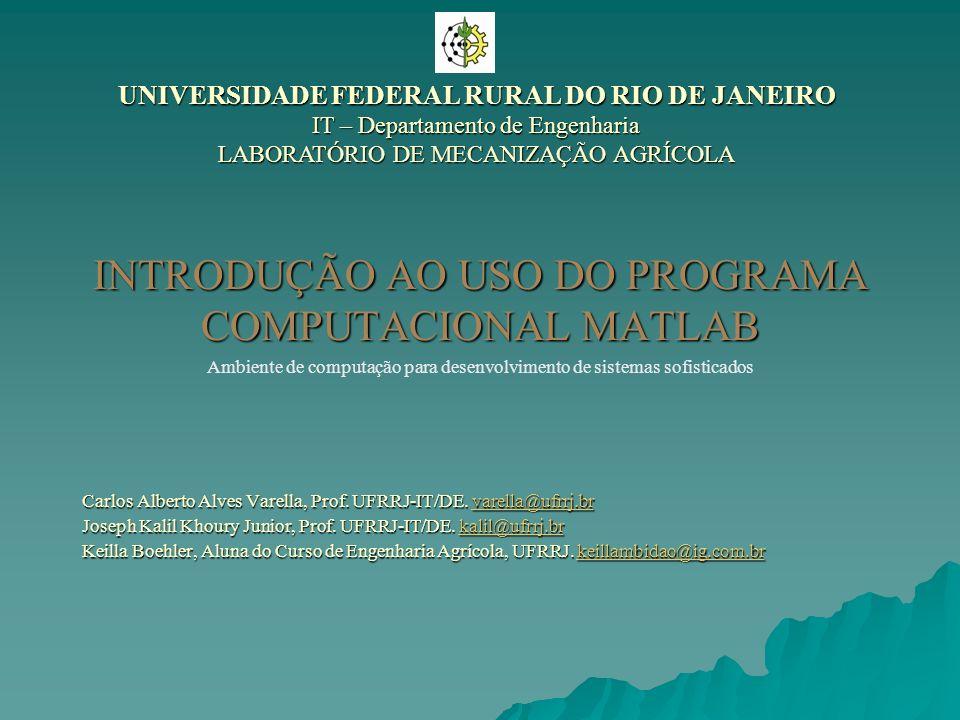 INTRODUÇÃO AO USO DO PROGRAMA COMPUTACIONAL MATLAB Carlos Alberto Alves Varella, Prof. UFRRJ-IT/DE. varella@ufrrj.br varella@ufrrj.br Joseph Kalil Kho