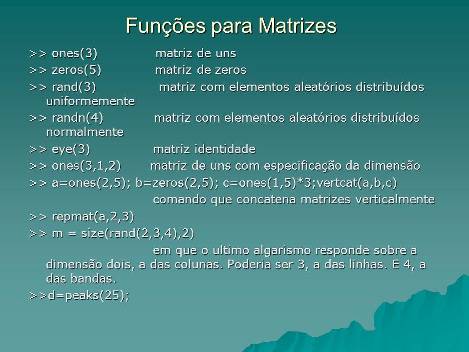 Funções para Matrizes >> ones(3) matriz de uns >> zeros(5) matriz de zeros >> rand(3) matriz com elementos aleatórios distribuídos uniformemente >> ra
