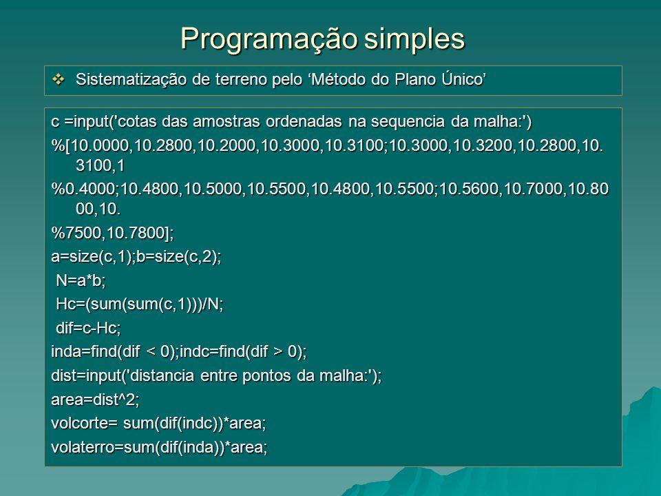 c =input('cotas das amostras ordenadas na sequencia da malha:') %[10.0000,10.2800,10.2000,10.3000,10.3100;10.3000,10.3200,10.2800,10. 3100,1 %0.4000;1