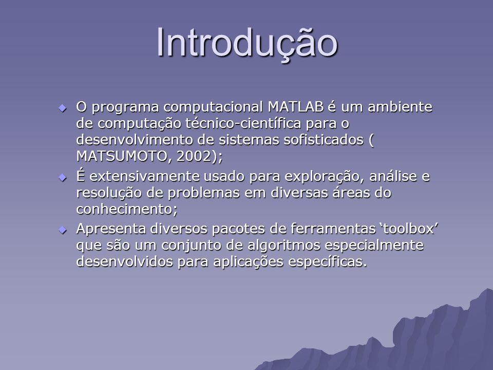 Introdução O programa computacional MATLAB é um ambiente de computação técnico-científica para o desenvolvimento de sistemas sofisticados ( MATSUMOTO,