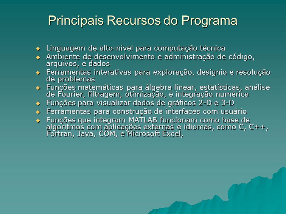 Principais Recursos do Programa Linguagem de alto-nível para computação técnica Linguagem de alto-nível para computação técnica Ambiente de desenvolvi