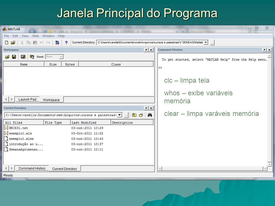 Janela Principal do Programa clc – limpa tela whos – exibe variáveis memória clear – limpa varáveis memória