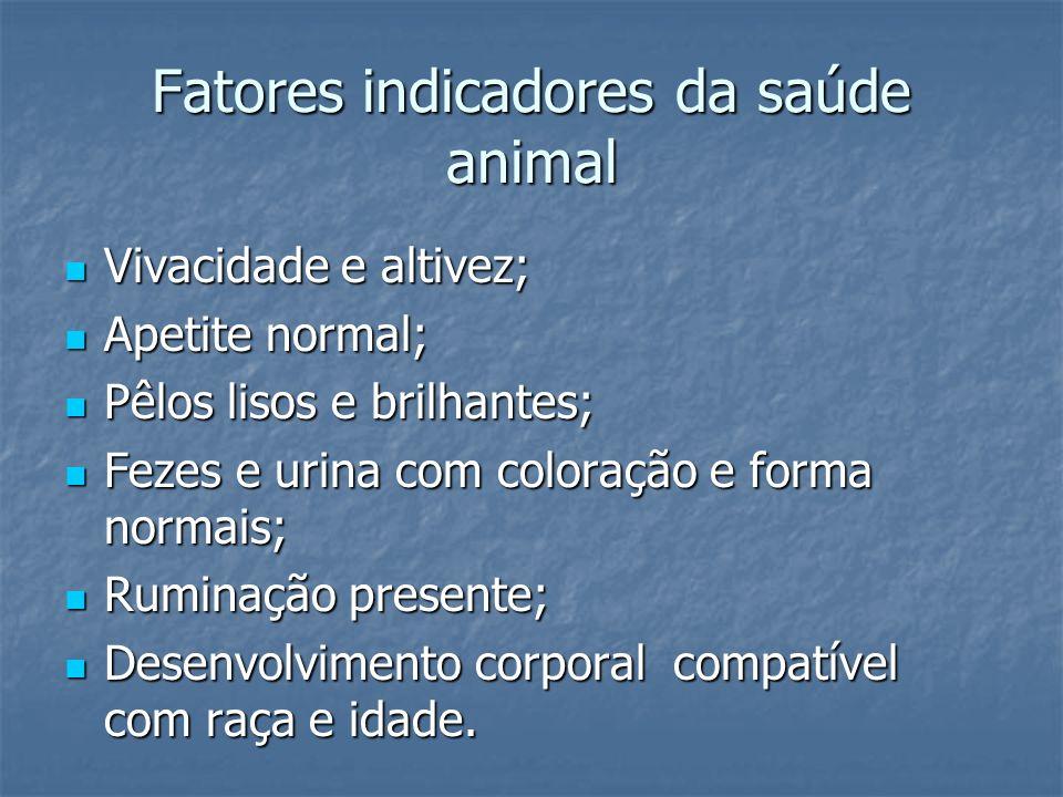 Fatores indicadores da saúde animal Vivacidade e altivez; Vivacidade e altivez; Apetite normal; Apetite normal; Pêlos lisos e brilhantes; Pêlos lisos