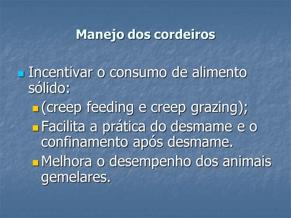 Manejo dos cordeiros Incentivar o consumo de alimento sólido: Incentivar o consumo de alimento sólido: (creep feeding e creep grazing); (creep feeding