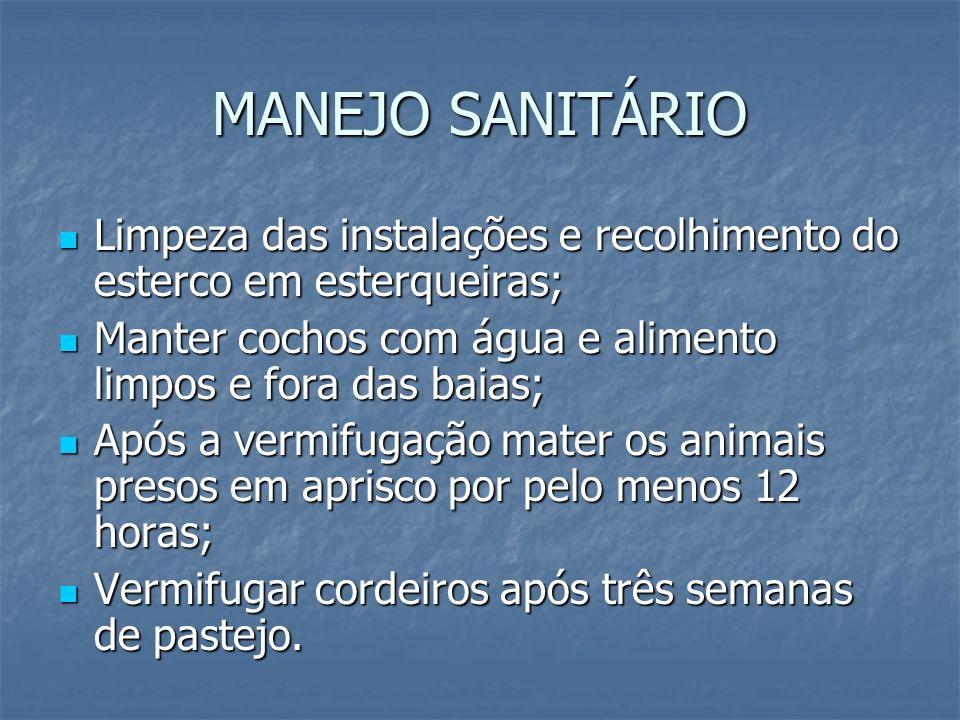 MANEJO SANITÁRIO Limpeza das instalações e recolhimento do esterco em esterqueiras; Limpeza das instalações e recolhimento do esterco em esterqueiras;
