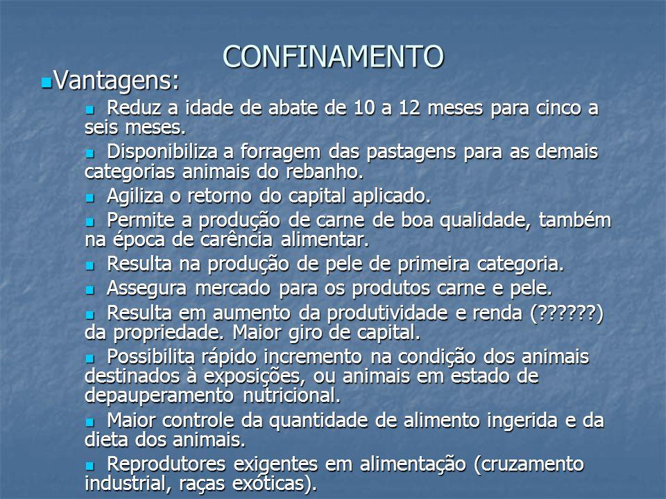CONFINAMENTO Vantagens: Vantagens: Reduz a idade de abate de 10 a 12 meses para cinco a seis meses. Reduz a idade de abate de 10 a 12 meses para cinco