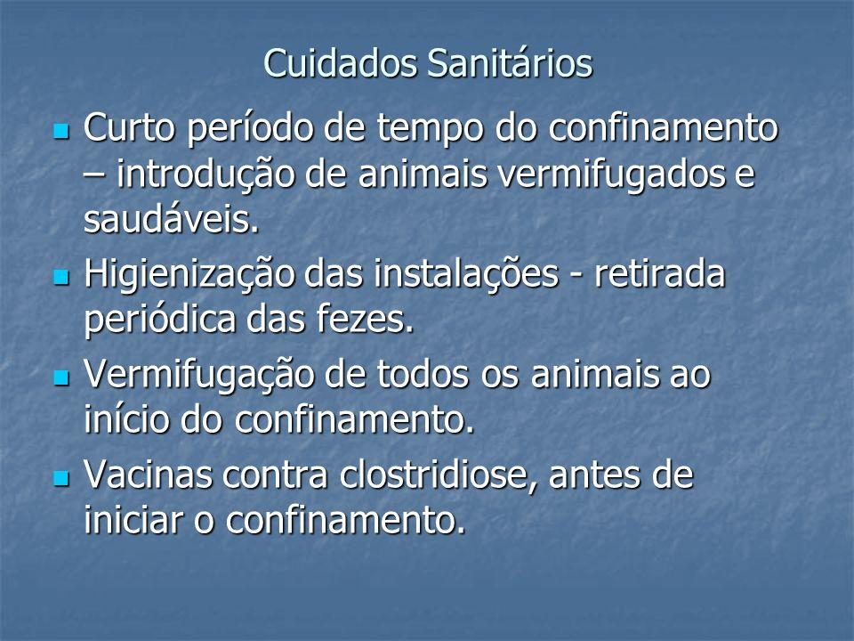 Cuidados Sanitários Curto período de tempo do confinamento – introdução de animais vermifugados e saudáveis. Curto período de tempo do confinamento –