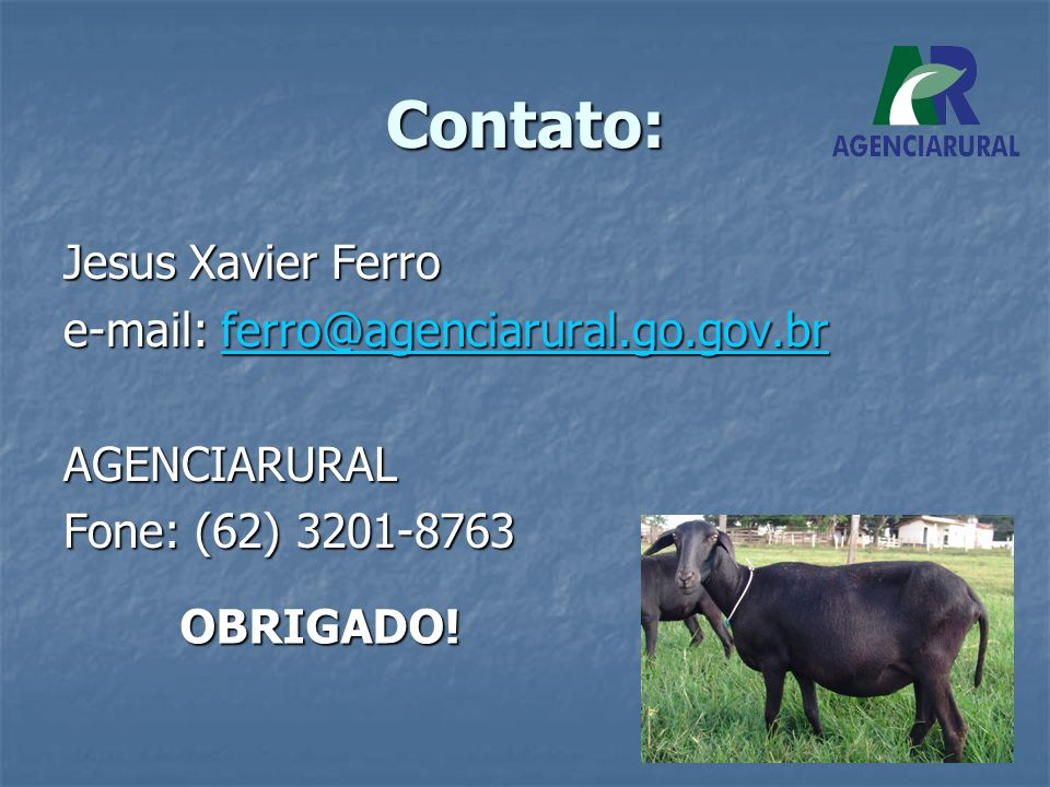 Contato: Jesus Xavier Ferro e-mail: ferro@agenciarural.go.gov.br ferro@agenciarural.go.gov.br AGENCIARURAL Fone: (62) 3201-8763 OBRIGADO!