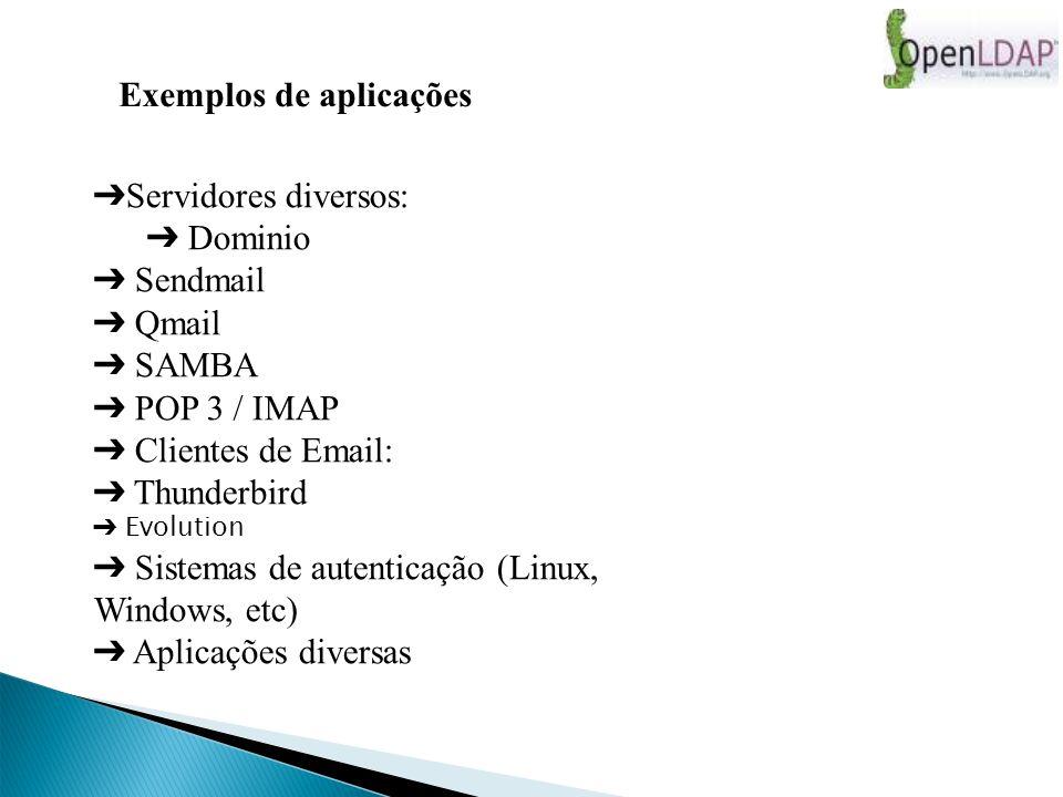 Exemplos de aplicações Servidores diversos: Dominio Sendmail Qmail SAMBA POP 3 / IMAP Clientes de Email: Thunderbird Evolution Sistemas de autenticação (Linux, Windows, etc) Aplicações diversas