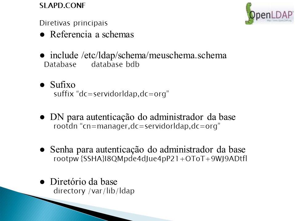 SLAPD.CONF Diretivas principais Referencia a schemas include /etc/ldap/schema/meuschema.schema Database database bdb Sufixo suffix dc=servidorldap,dc=org DN para autenticação do administrador da base rootdn cn=manager,dc=servidorldap,dc=org Senha para autenticação do administrador da base rootpw {SSHA}I8QMpde4dJue4pP21+OToT+9WJ9ADtfl Diretório da base directory /var/lib/ldap