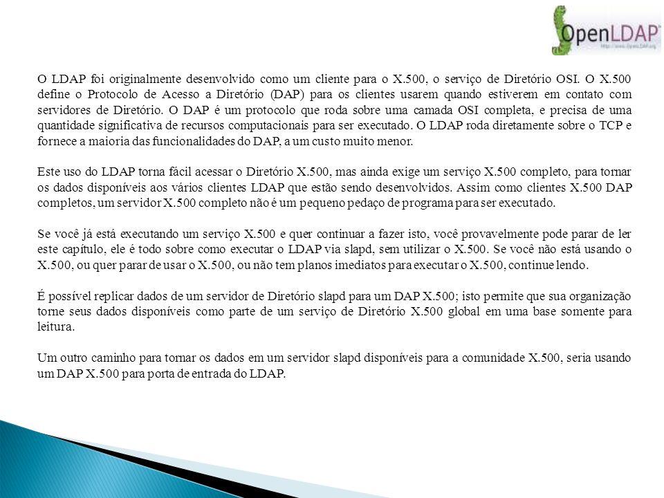 O LDAP foi originalmente desenvolvido como um cliente para o X.500, o serviço de Diretório OSI.