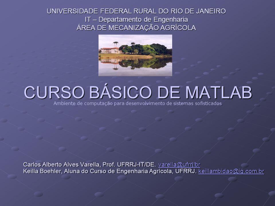 CURSO BÁSICO DE MATLAB Carlos Alberto Alves Varella, Prof. UFRRJ-IT/DE. varella@ufrrj.br varella@ufrrj.br Keilla Boehler, Aluna do Curso de Engenharia