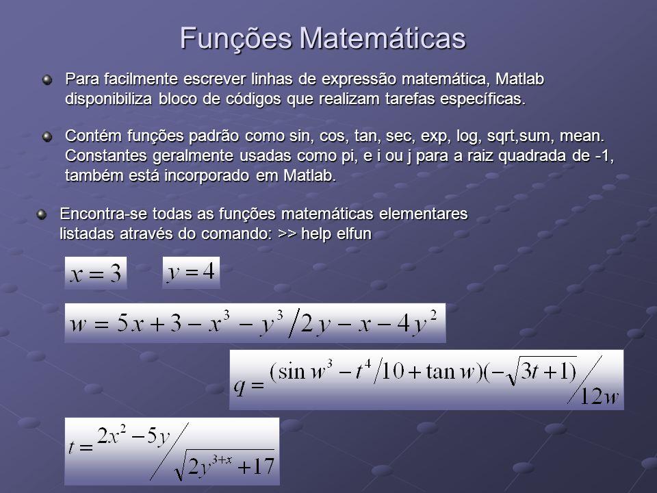Funções Matemáticas Para facilmente escrever linhas de expressão matemática, Matlab disponibiliza bloco de códigos que realizam tarefas específicas. C