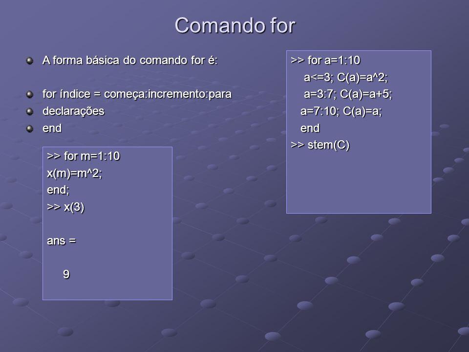 Comando for >> for a=1:10 a<=3; C(a)=a^2; a<=3; C(a)=a^2; a=3:7; C(a)=a+5; a=3:7; C(a)=a+5; a=7:10; C(a)=a; a=7:10; C(a)=a; end end >> stem(C) A forma