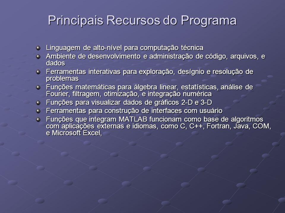 Principais Recursos do Programa Linguagem de alto-nível para computação técnica Ambiente de desenvolvimento e administração de código, arquivos, e dad
