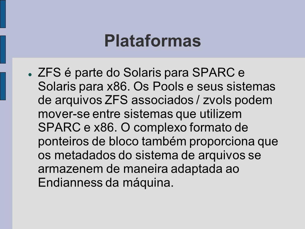 Plataformas ZFS é parte do Solaris para SPARC e Solaris para x86. Os Pools e seus sistemas de arquivos ZFS associados / zvols podem mover-se entre sis