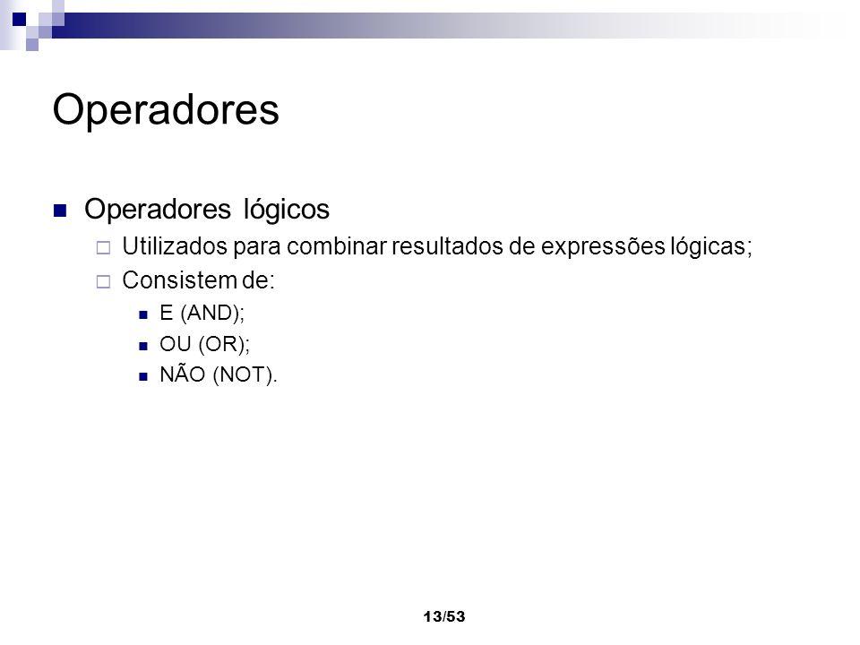 13/53 Operadores Operadores lógicos Utilizados para combinar resultados de expressões lógicas; Consistem de: E (AND); OU (OR); NÃO (NOT).