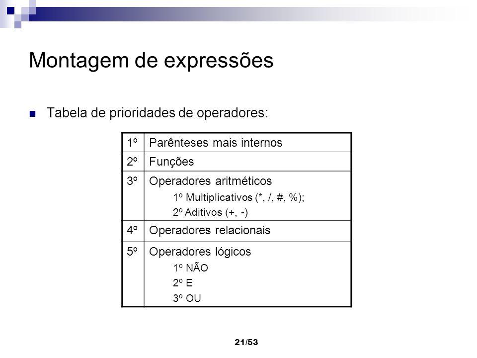 21/53 Montagem de expressões Tabela de prioridades de operadores: 1ºParênteses mais internos 2ºFunções 3ºOperadores aritméticos 1º Multiplicativos (*,
