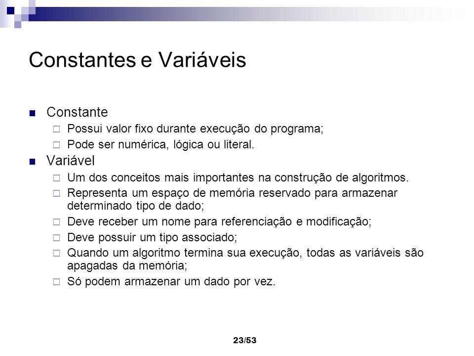 23/53 Constantes e Variáveis Constante Possui valor fixo durante execução do programa; Pode ser numérica, lógica ou literal. Variável Um dos conceitos