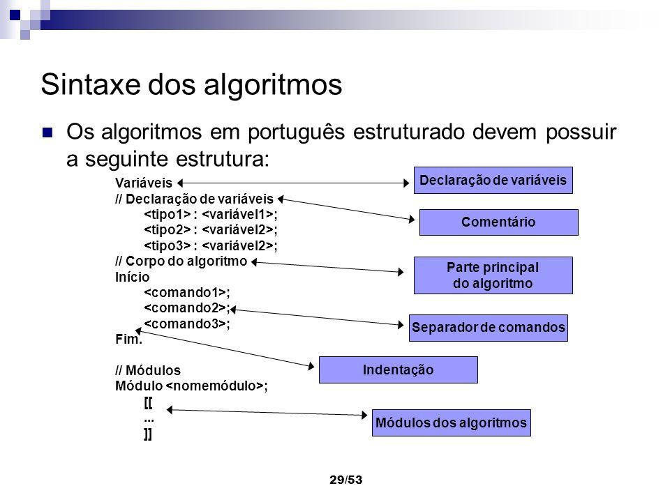 29/53 Sintaxe dos algoritmos Os algoritmos em português estruturado devem possuir a seguinte estrutura: Variáveis // Declaração de variáveis : ; // Co