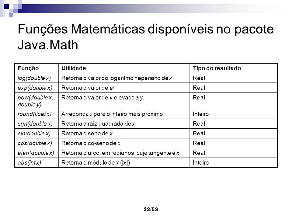 32/53 Funções Matemáticas disponíveis no pacote Java.Math FunçãoUtilidadeTipo do resultado log(double x)Retorna o valor do logaritmo neperiano de xRea