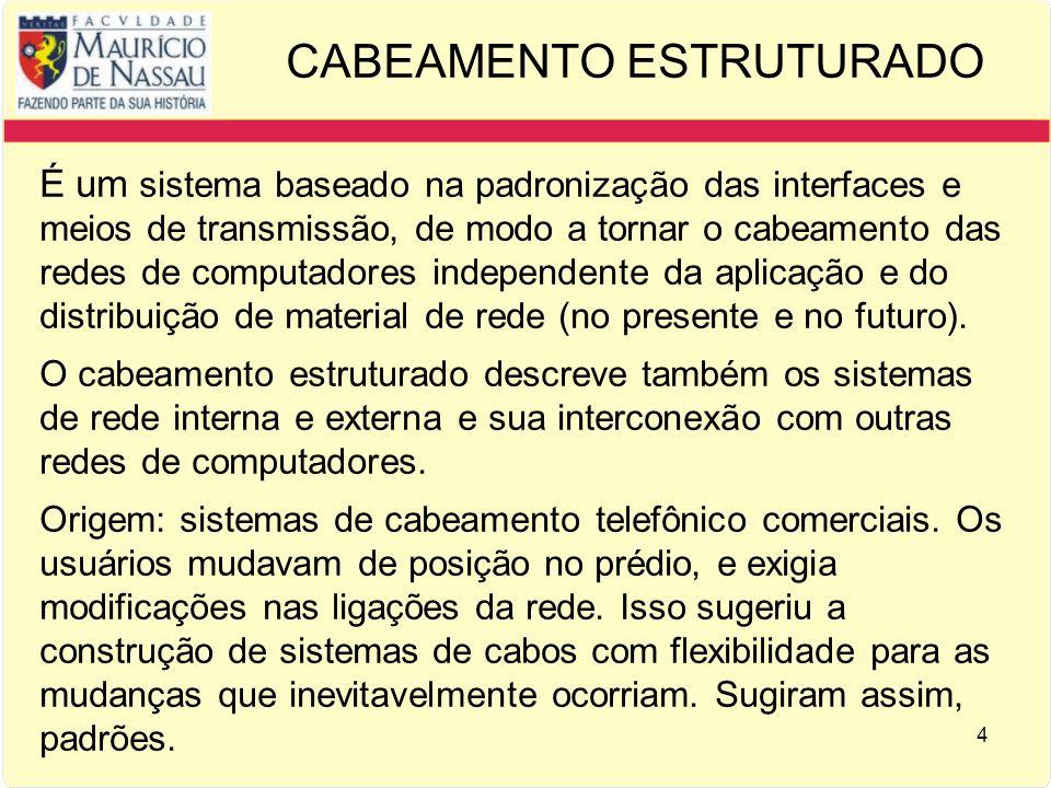 4 CABEAMENTO ESTRUTURADO É um sistema baseado na padronização das interfaces e meios de transmissão, de modo a tornar o cabeamento das redes de computadores independente da aplicação e do distribuição de material de rede (no presente e no futuro).
