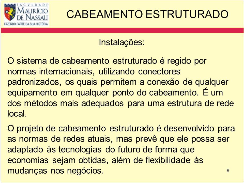 9 CABEAMENTO ESTRUTURADO Instalações: O sistema de cabeamento estruturado é regido por normas internacionais, utilizando conectores padronizados, os q