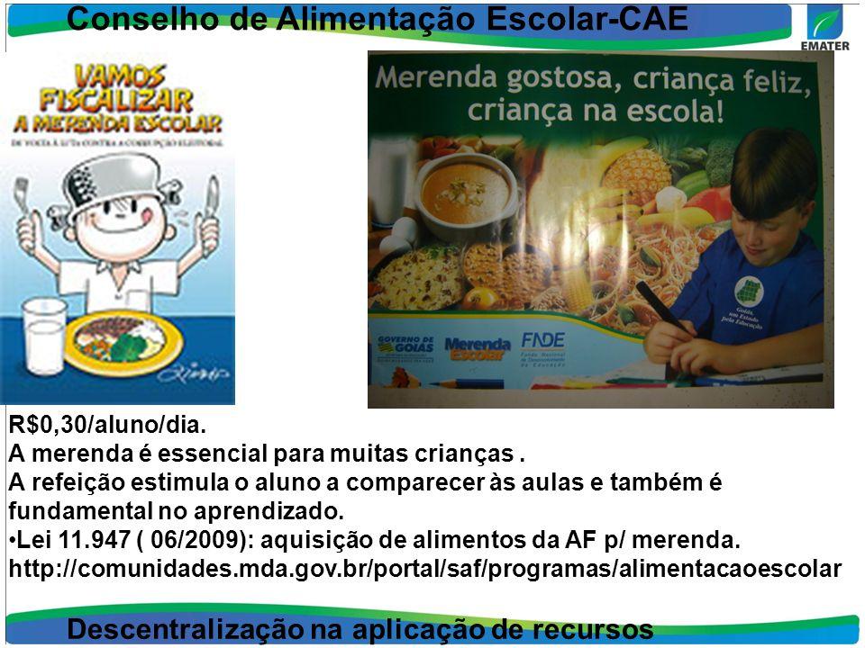 Conselho de Alimentação Escolar-CAE R$0,30/aluno/dia. A merenda é essencial para muitas crianças. A refeição estimula o aluno a comparecer às aulas e