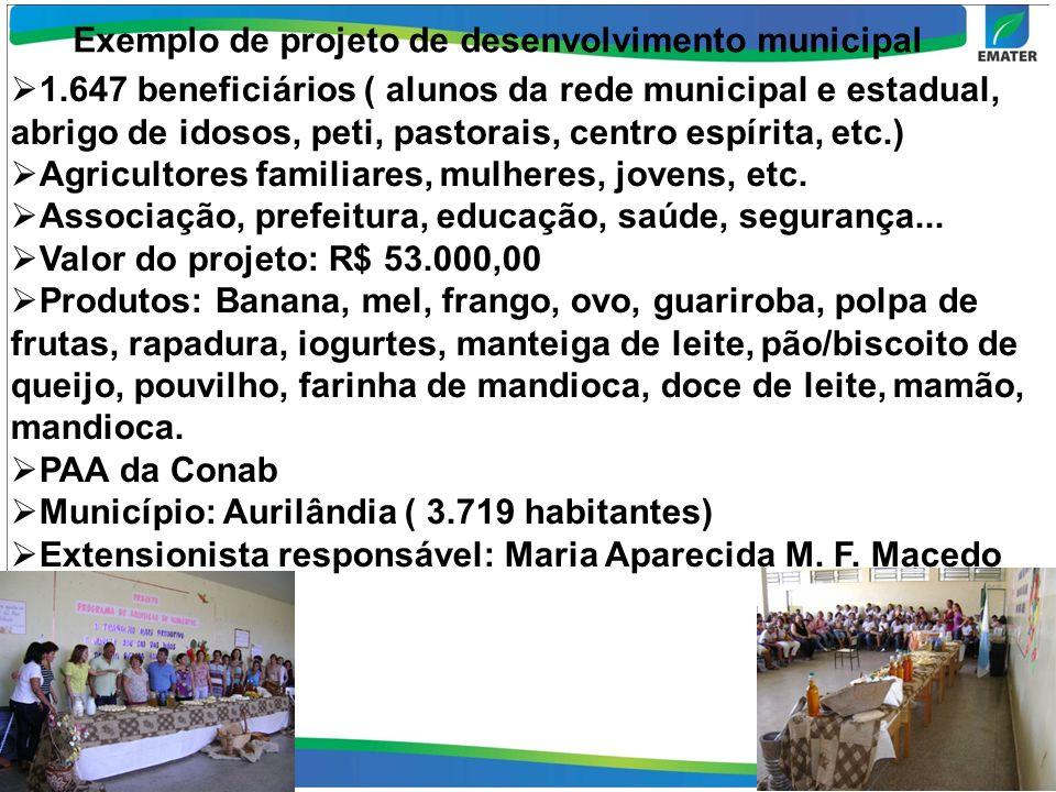 Exemplo de projeto de desenvolvimento municipal 1.647 beneficiários ( alunos da rede municipal e estadual, abrigo de idosos, peti, pastorais, centro espírita, etc.) Agricultores familiares, mulheres, jovens, etc.