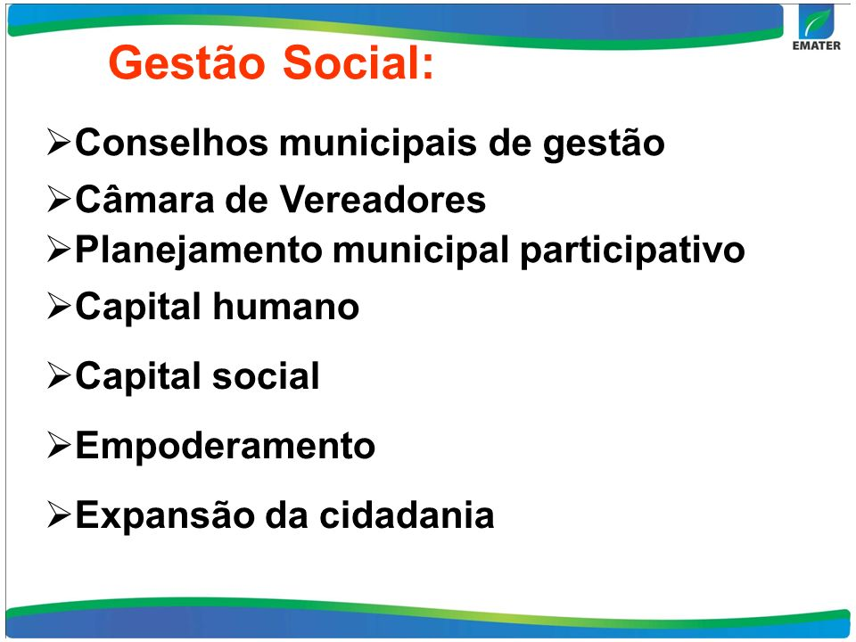 Conselhos municipais de gestão Câmara de Vereadores Planejamento municipal participativo Capital humano Capital social Empoderamento Expansão da cidad