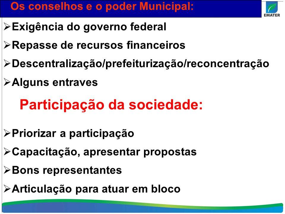 Os conselhos e o poder Municipal: Exigência do governo federal Repasse de recursos financeiros Descentralização/prefeiturização/reconcentração Alguns
