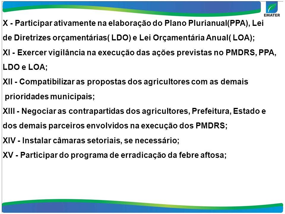 X - Participar ativamente na elaboração do Plano Plurianual(PPA), Lei de Diretrizes orçamentárias( LDO) e Lei Orçamentária Anual( LOA); XI - Exercer vigilância na execução das ações previstas no PMDRS, PPA, LDO e LOA; XII - Compatibilizar as propostas dos agricultores com as demais prioridades municipais; XIII - Negociar as contrapartidas dos agricultores, Prefeitura, Estado e dos demais parceiros envolvidos na execução dos PMDRS; XIV - Instalar câmaras setoriais, se necessário; XV - Participar do programa de erradicação da febre aftosa;