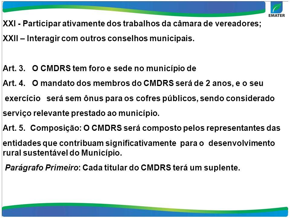 XXI - Participar ativamente dos trabalhos da câmara de vereadores; XXII – Interagir com outros conselhos municipais.
