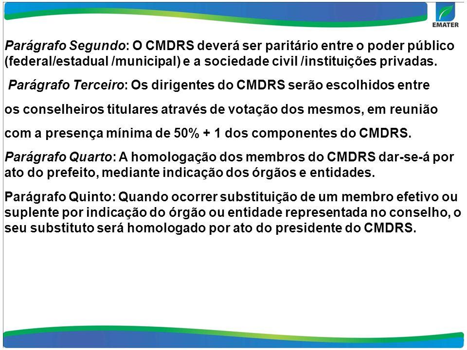 Parágrafo Segundo: O CMDRS deverá ser paritário entre o poder público (federal/estadual /municipal) e a sociedade civil /instituições privadas. Parágr