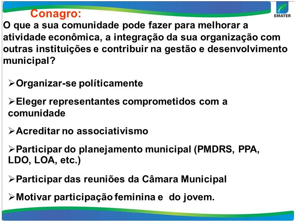 Conagro: O que a sua comunidade pode fazer para melhorar a atividade econômica, a integração da sua organização com outras instituições e contribuir n