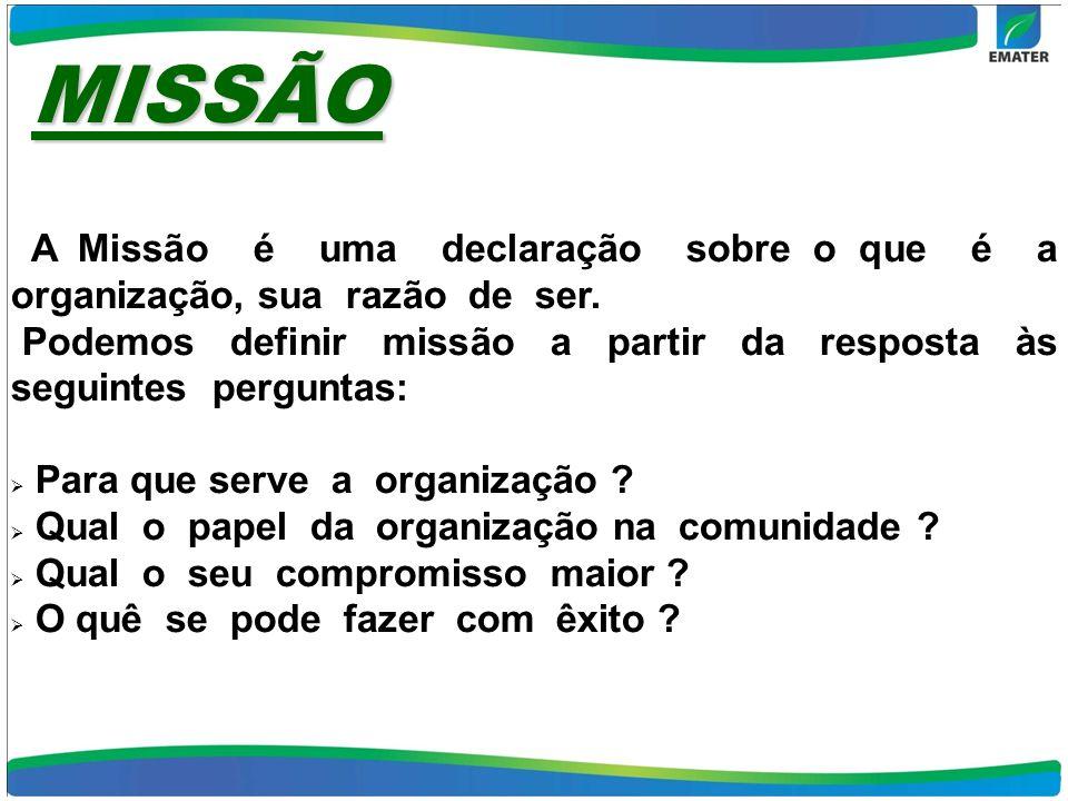 MISSÃO A Missão é uma declaração sobre o que é a organização, sua razão de ser. Podemos definir missão a partir da resposta às seguintes perguntas: Pa