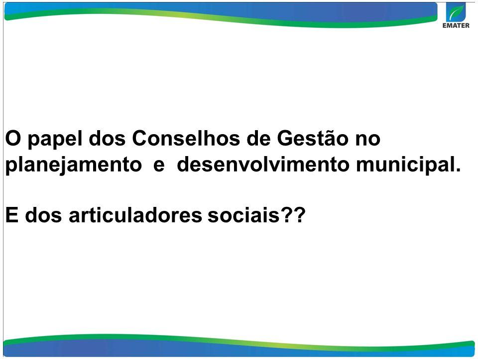 O papel dos Conselhos de Gestão no planejamento e desenvolvimento municipal. E dos articuladores sociais??